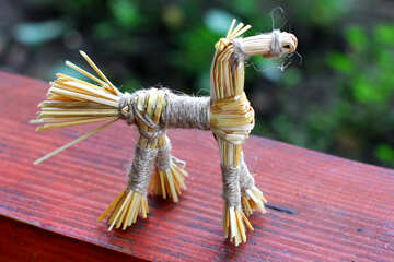 An ancient folk crafts from straw horse №34808