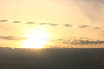 Sunset and electric wire p №34104