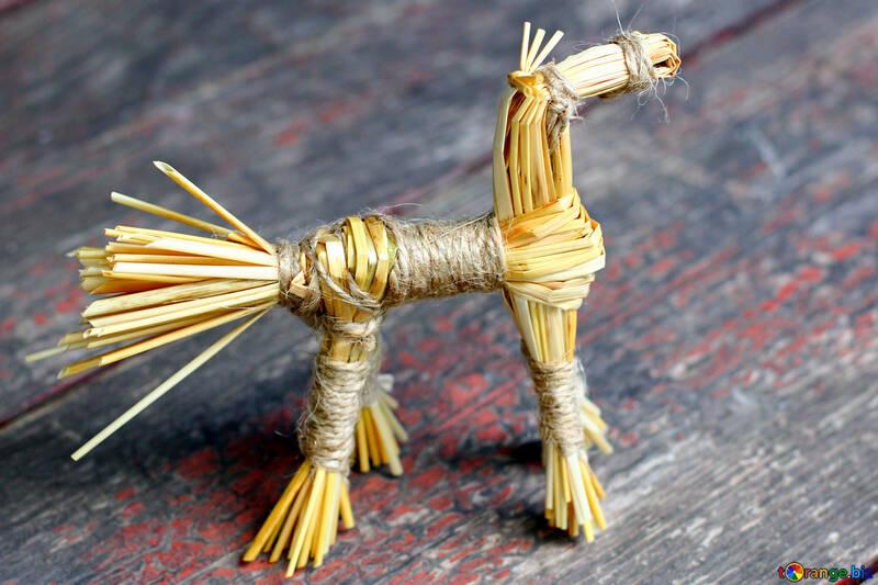 Children`s crafts from straw horse №34806
