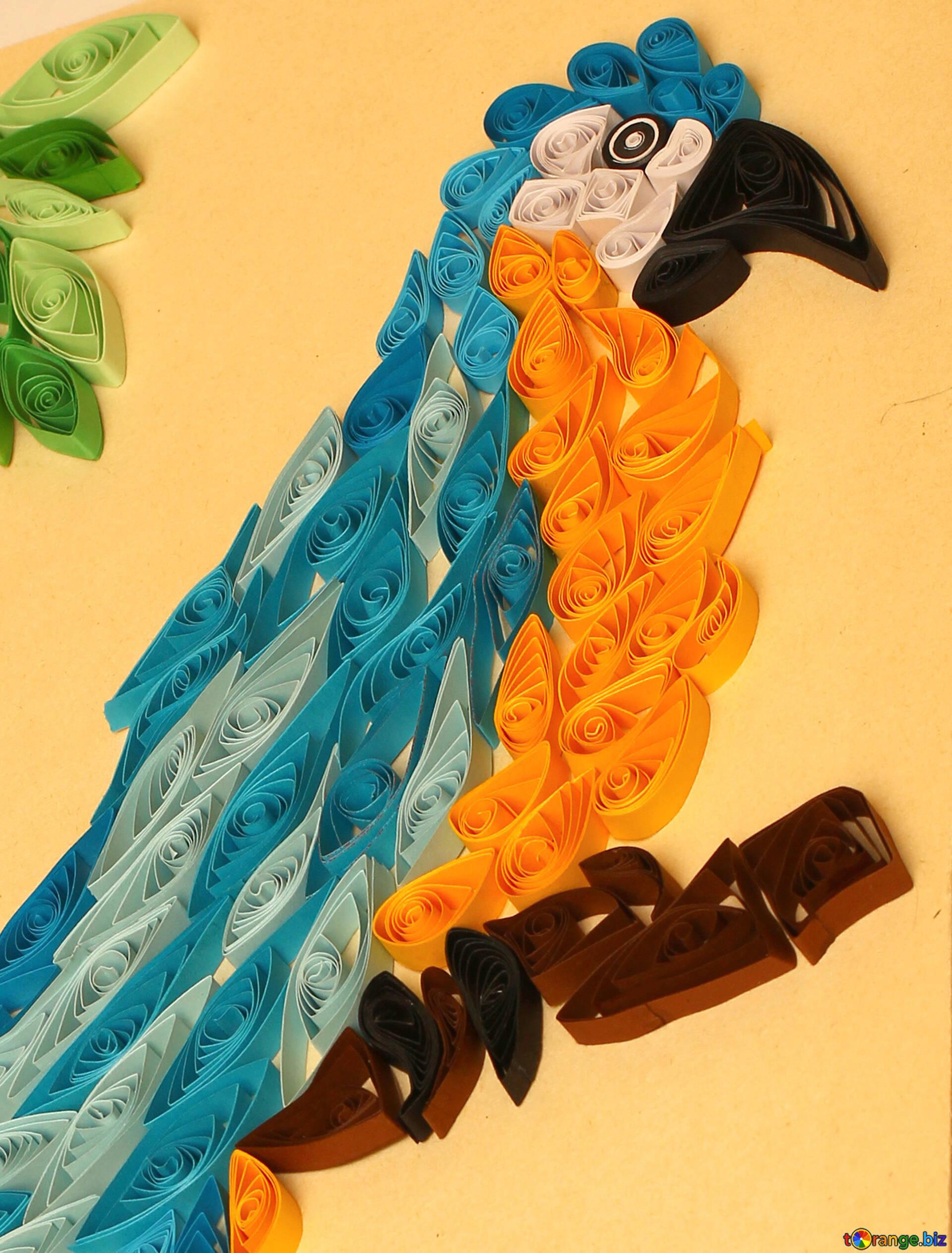 Kviling loro guacamayo de papel quilling artesanías № 35490