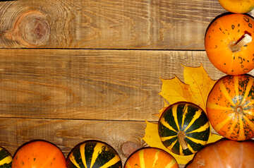Autumn background with pumpkins in the corner №35218