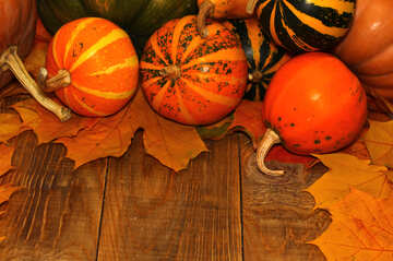 Autumn background with pumpkins №35225