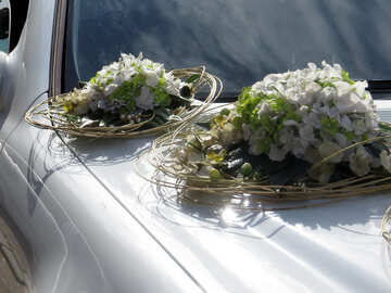 Bouquets of flowers on the hood of car №35768