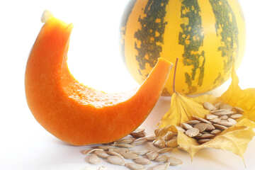 Bright background with sliced pumpkin №35572
