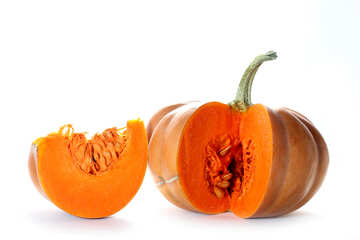 Pumpkin and cut piece on white background №35610