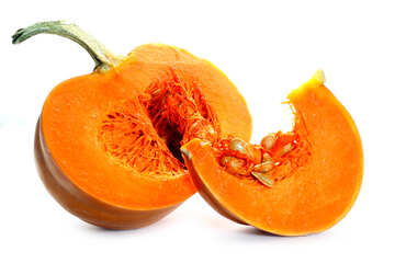 Pumpkin cut into pieces isolated №35602