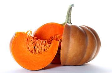 Pumpkin on white background with piece cut №35615