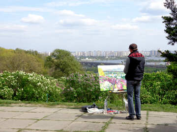 The artist draws landscape №35738