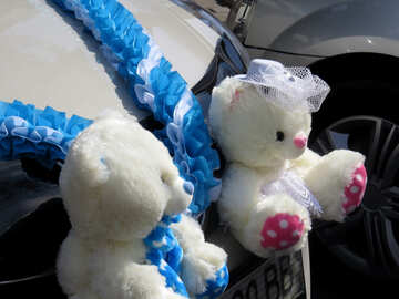 Teddy bears wedding car decoration №35792