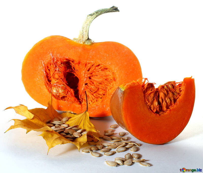 Cut pumpkin on white background №35567