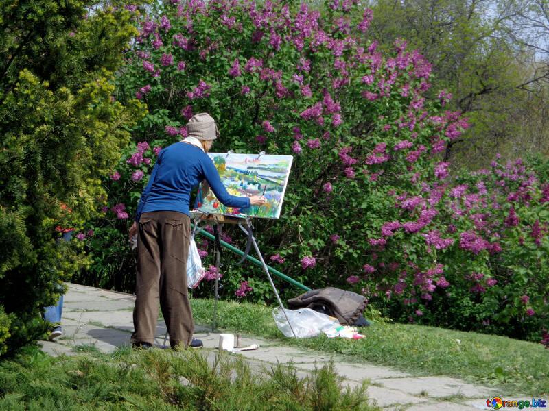 A painter paints flowers №35739