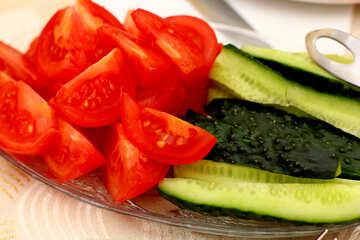 Faul Salat von Gurken und Tomaten №36289