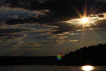 Il sole di sera sull`acqua №36513