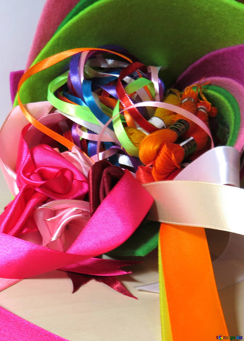 Colored ribbon and thread №36565
