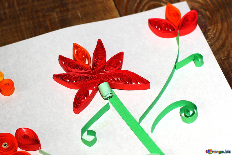 Children`s crafts made by quilling №36322