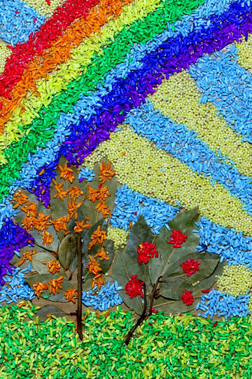 Children`s mosaic of coloured beans №37202
