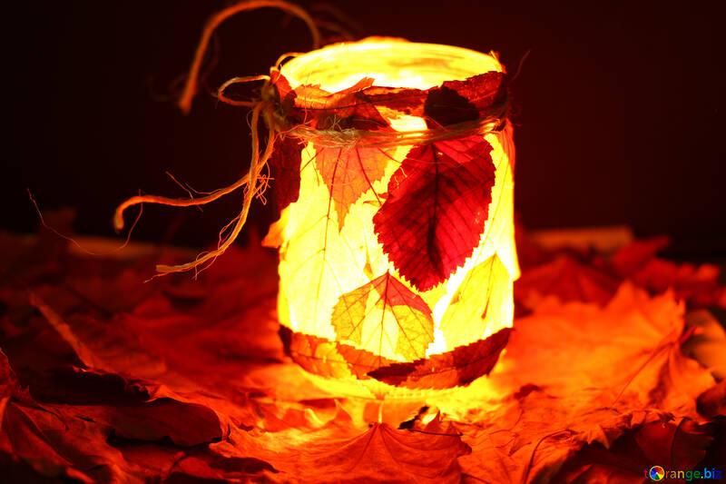Осенний светильник из банки №37950