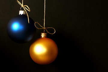Christmas balls of yellow and blue insulated №38050