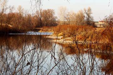 Paisaje de otoño cerca del río №38615