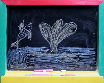 Fish in the sea drawing chalk №39201