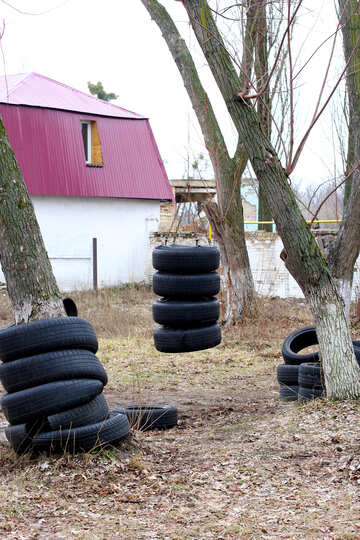 Sports projectile out of old tires №39041