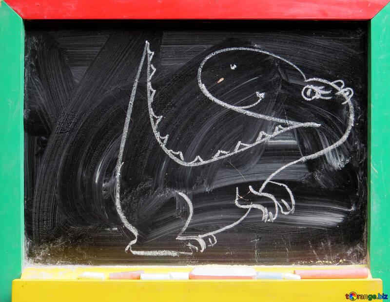 Los niños los dibujos de tiza tiza dibujo dinosaurio infancia № 39188