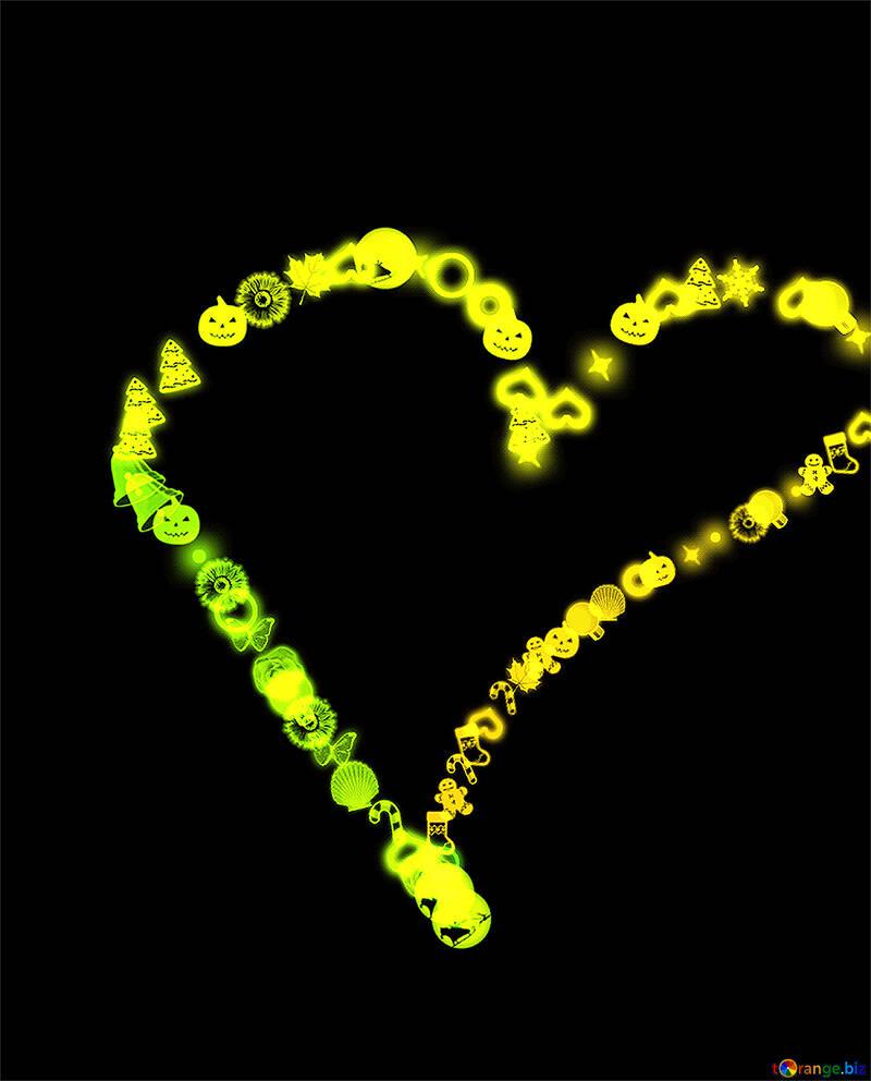 Corazón dibujado por niños en computadora №39983