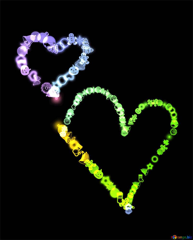 Zwei Herzen Neon glühen №39981
