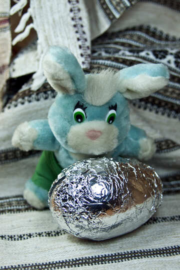 Easter bunny holding chocolate egg №4327