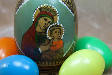 Easter egg with the icon of the Virgin Mary and Jesus №4311