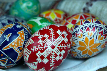 Eggs are painted by hand