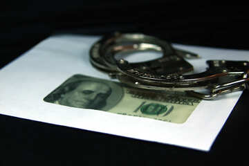 Illegal  salary.  Dollars,  envelope,  handcuffs. №4706