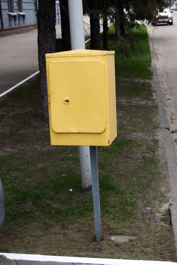 Yellow  mail box  at  column.  E-mail. №4918