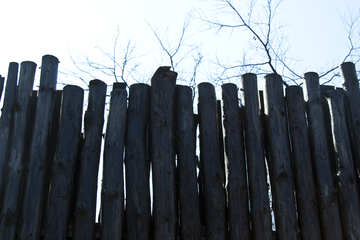 A fence made of logs. Stockade. №4572
