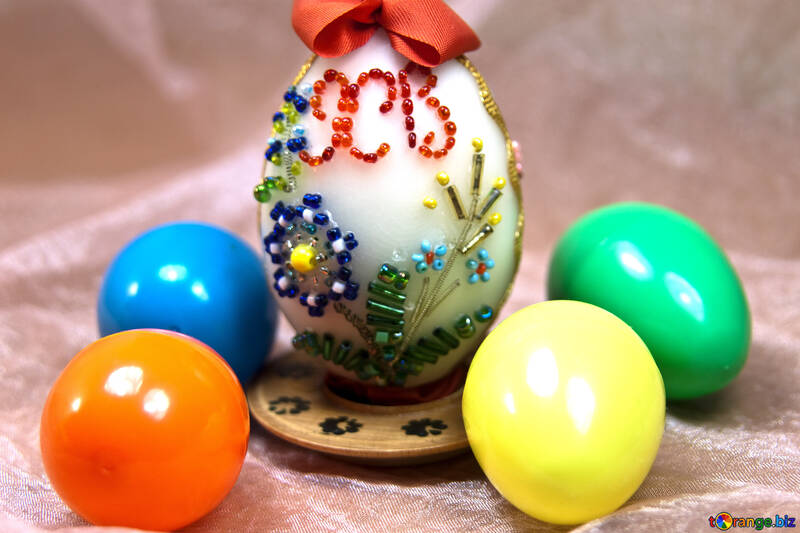 Easter egg decorated with beads №4313