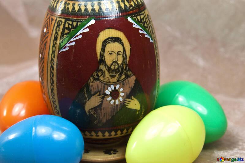 Easter image of Jesus Christ on the egg. №4336