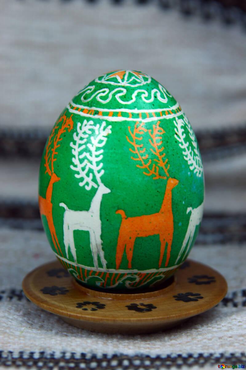 Easter egg. Symbol deer. Sunrise. №4363