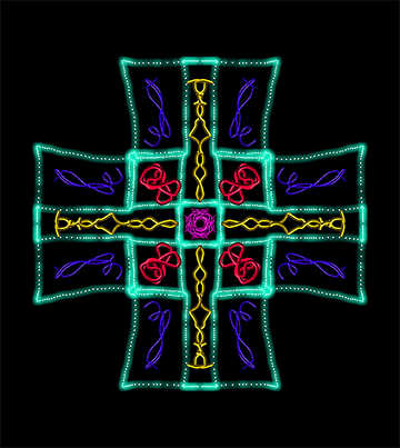 Symmetric color abstract picture on dark background №40460