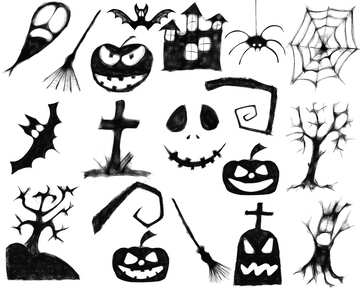 A set of clipart for Halloween №40465