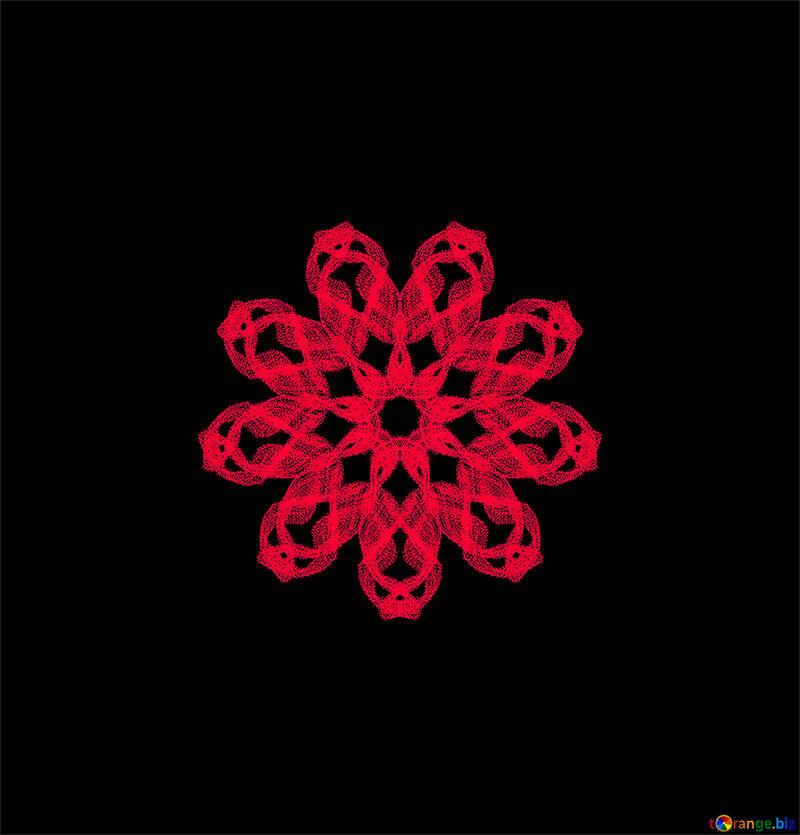 Red snowflake motif №40385