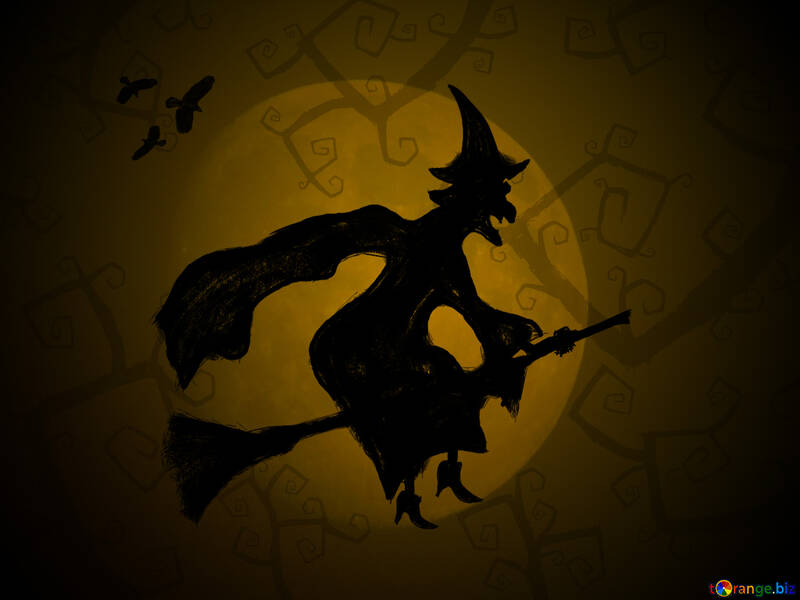 Picture Halloween witch flying on her broom №40587