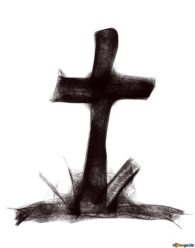 ClipArt für Halloween Grab Kreuz №40485
