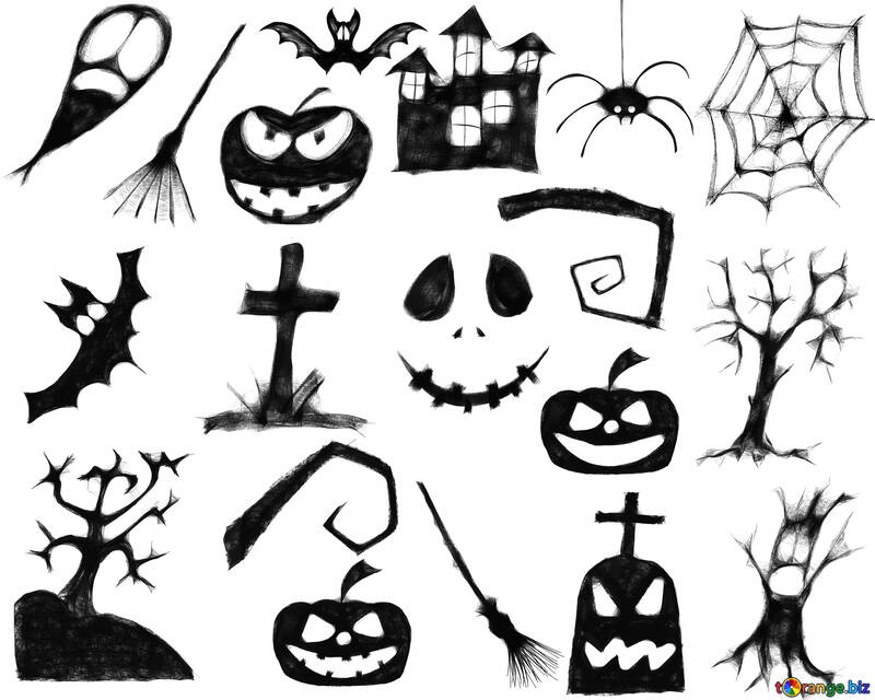 Clipart For Halloween A Set Of Clipart For Halloween Halloween 40465