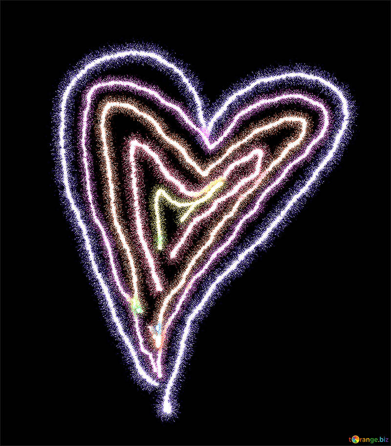 Разноцветное сердечко рисунок №40009