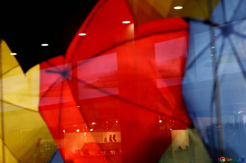 Multi-colored umbrellas in the shop window №40973