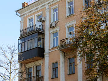Glazed balcony in an old building №41060