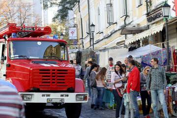 Feuerwehrauto in der Stadt №41482