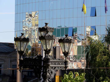 Old street lamp on the background of the glass facade №41100