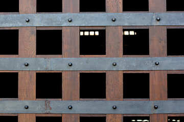 The texture of wood and metal grille №41635