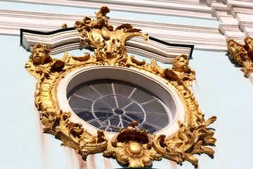 Mit Goldrahmen Runde Fenster №41470